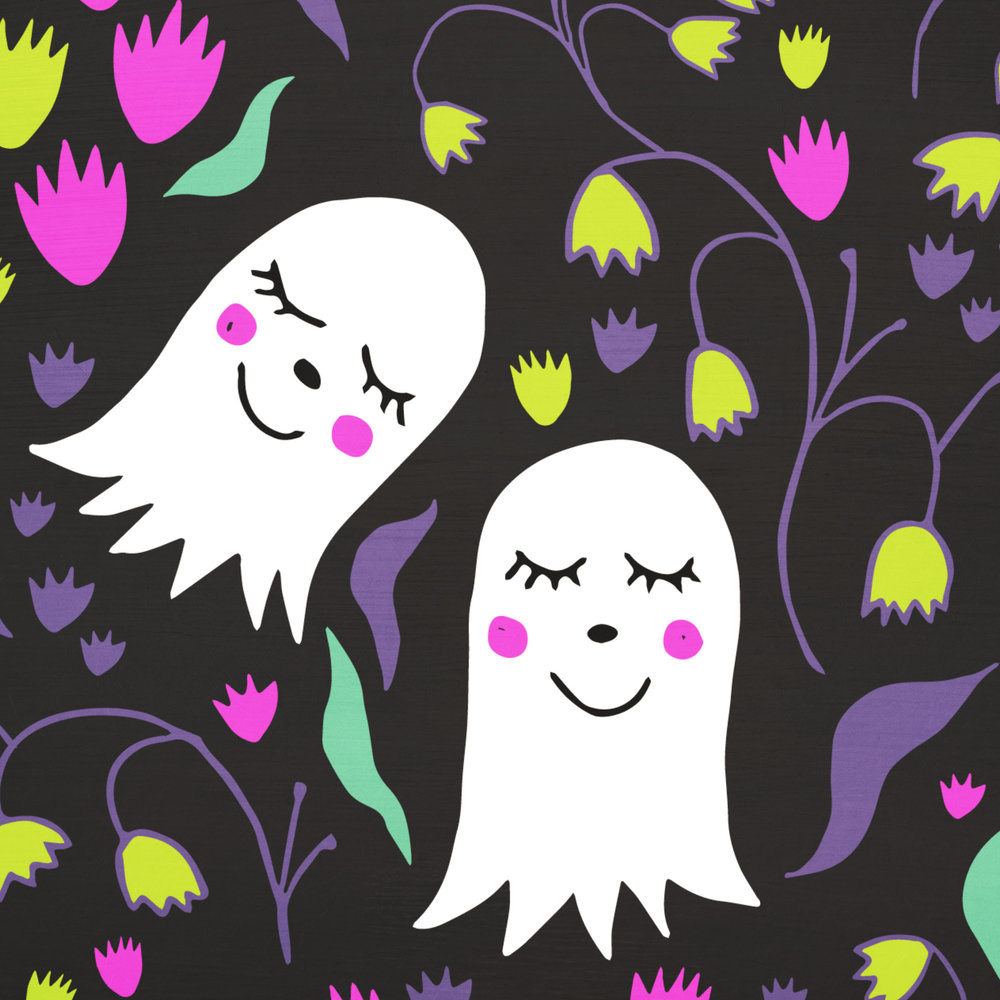 Featured in this post is my Happy Ghosts design, available exclusively at The Textile District as fabric.  Click here to visit their website and get a few yards- I will get a commission for any fabrics you purchase from their site that were designed by me.