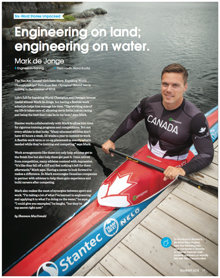 Story on Mark de Jonge featured in Stantec's employee magazine, Spark.