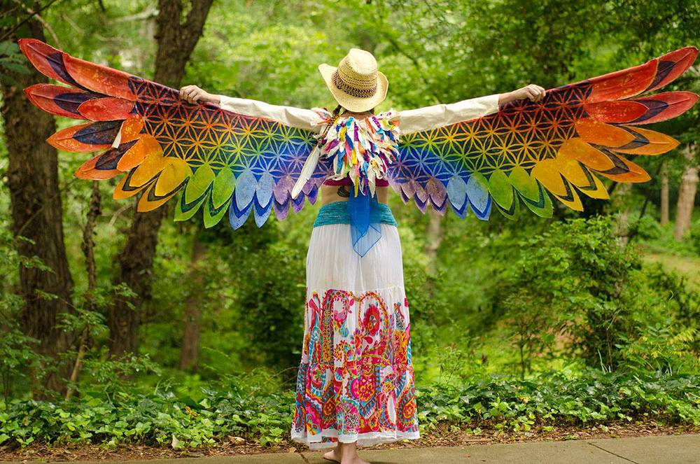 Rainbow Flower of Live Wings- Wire and rod support