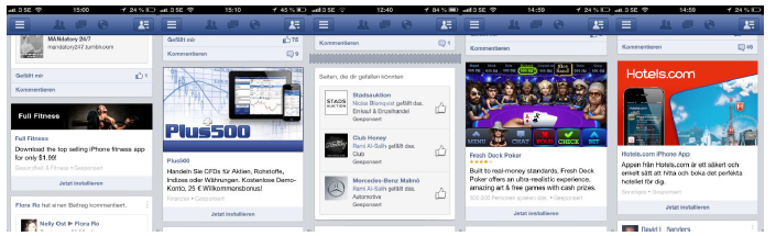 Image 1 – 5: Facebook mobile application (Source: own)