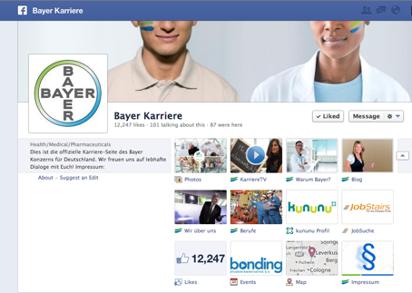 Figure 1: Facebook page of BAYER careers (Germany)