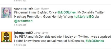 Two sample tweets from the #McDStories Twitter Campaign