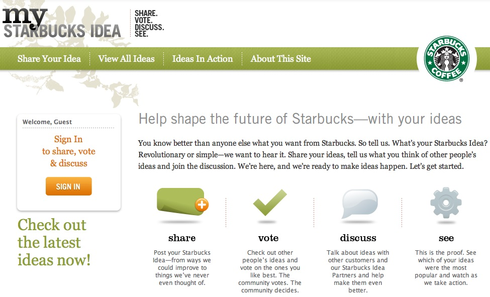 eWOM online word of mouth my sturbucks ideas marketing