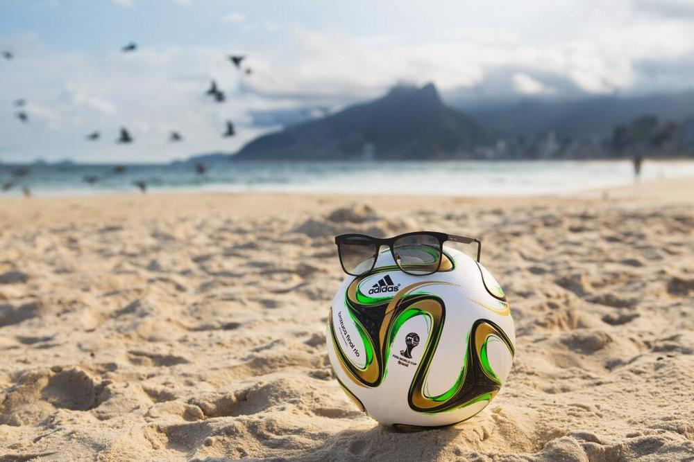 Figure 2 - Brazuca ball wearing sunglasses as disguise on the beach in Brazil
