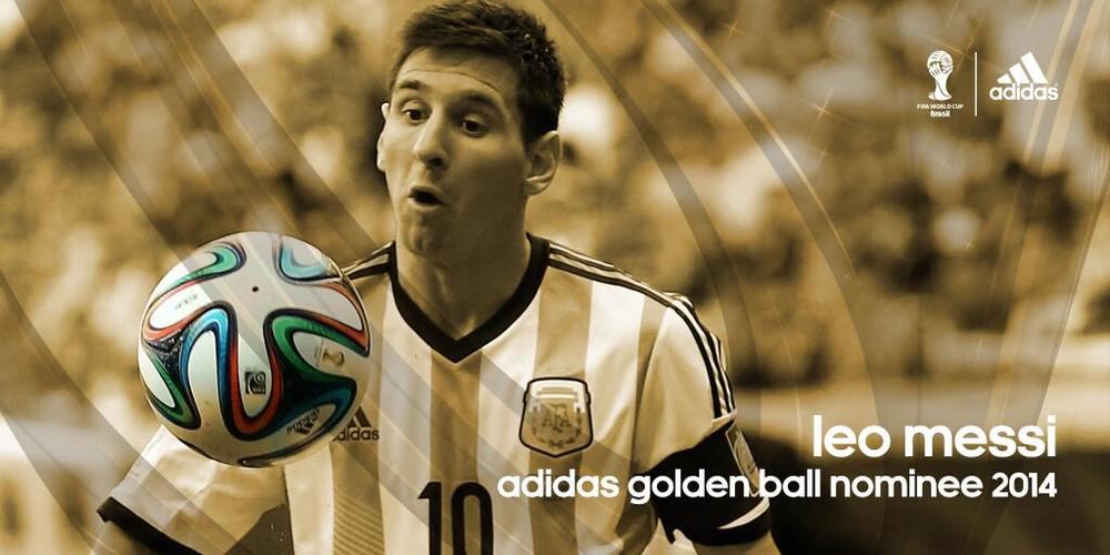 Figure 3 @brazuca – adidas golden ball nominee messi (Twitter, 2014b)    Leo Messi nominated for adidas golden ball award with funny facial expression staring at brazuca ball.