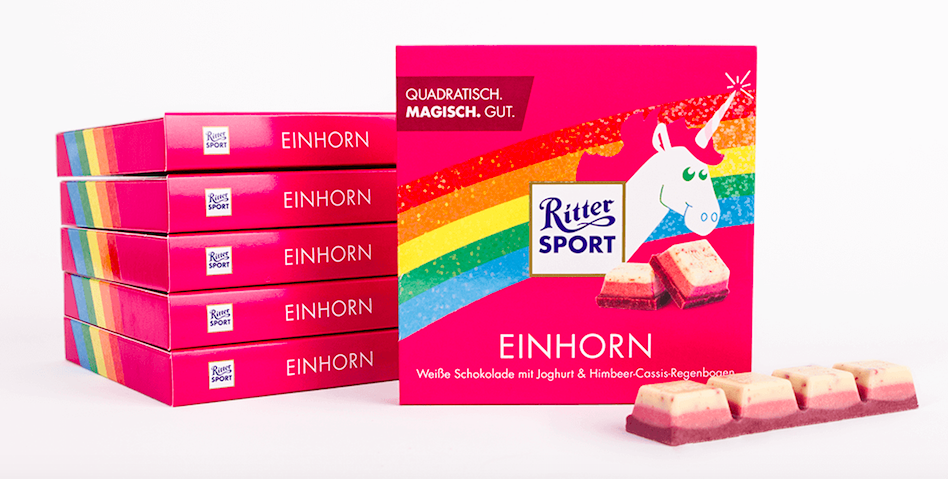 The unicorn chocolate by Ritter Sport is a good example of customer co-creation. © Screenshot www.facebook.com/RitterSportDeutschland