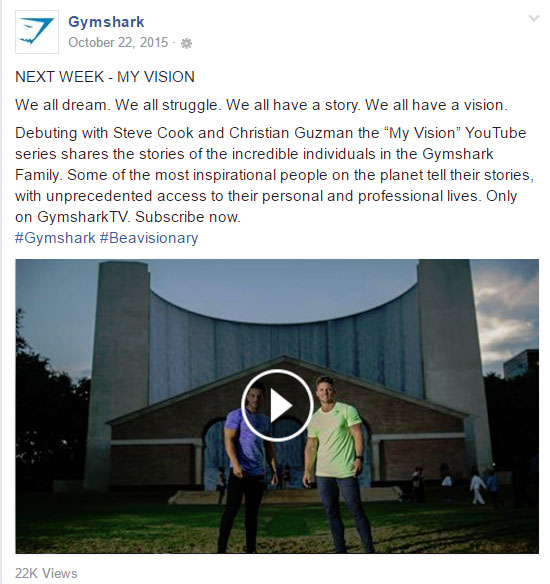 "Figure 4 - Facebook post promoting ""My Vision"" YouTube campaign"
