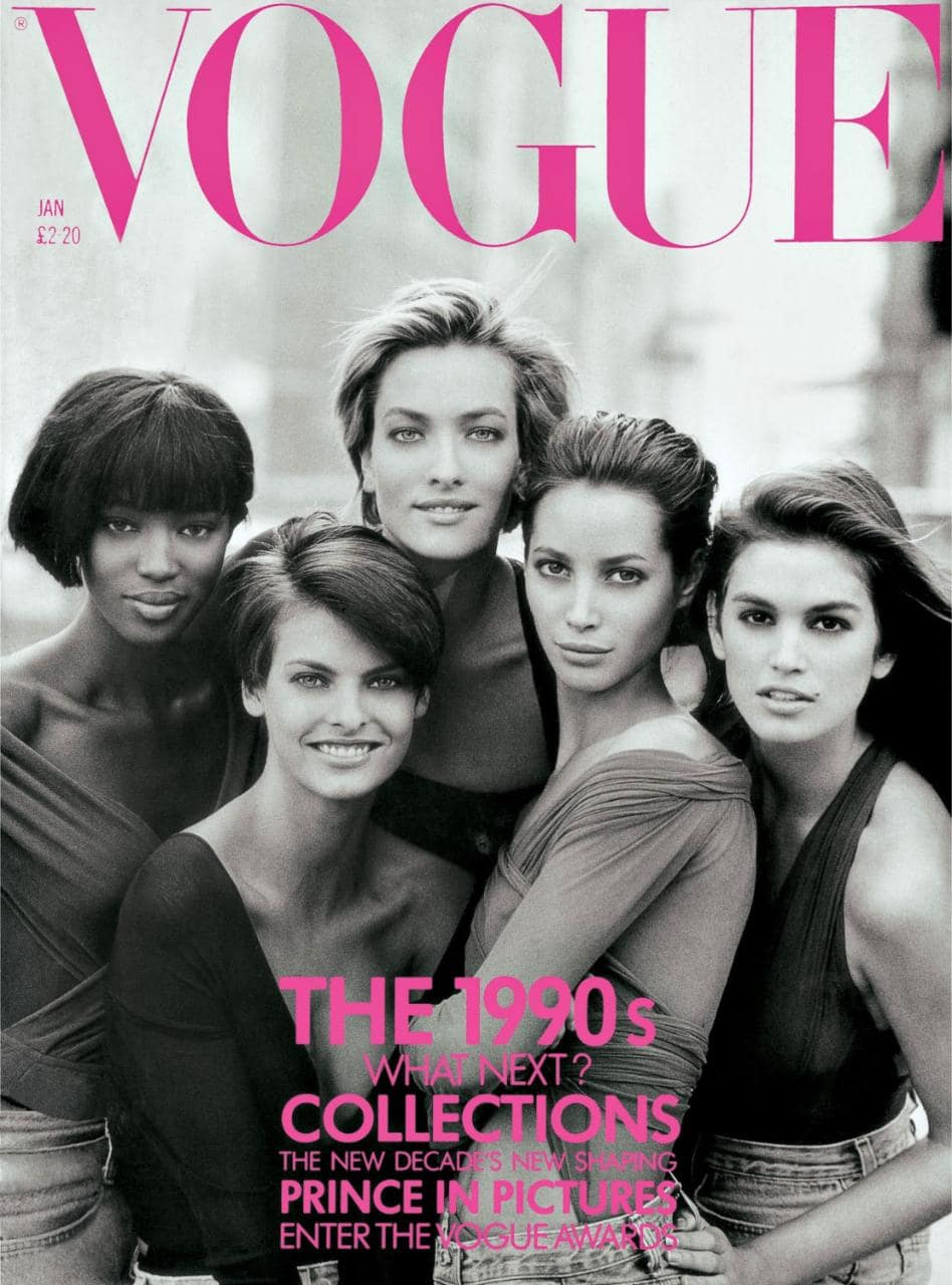 : British Vogue cover shot by Peter Lindbergh featuring Crawford, Patitz, Campbell, Turlington & Evangelista.jpg