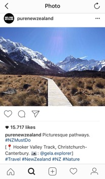 Figure 1. Instagram re‑post from @gela.explorer by @purenewzealand January 2016 (purenewzealand, 2016)
