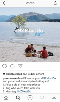 Figure 3. Post by @purenewzealand actively asking their followers to share an experience and use the hashtag #NZMustDo in May 2015 (purenewzealand, 2015)