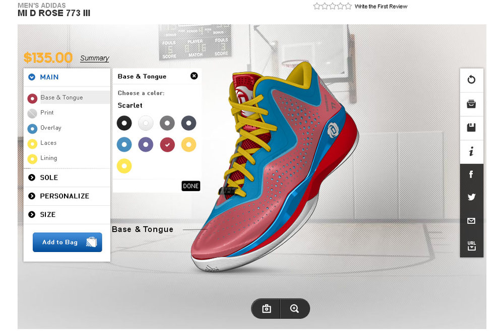 Image 2: Involvement of consumer's creativity to design customised Adidas shoes enhances the cognitive online brand experience (image source: ShoesHotel, 2016).