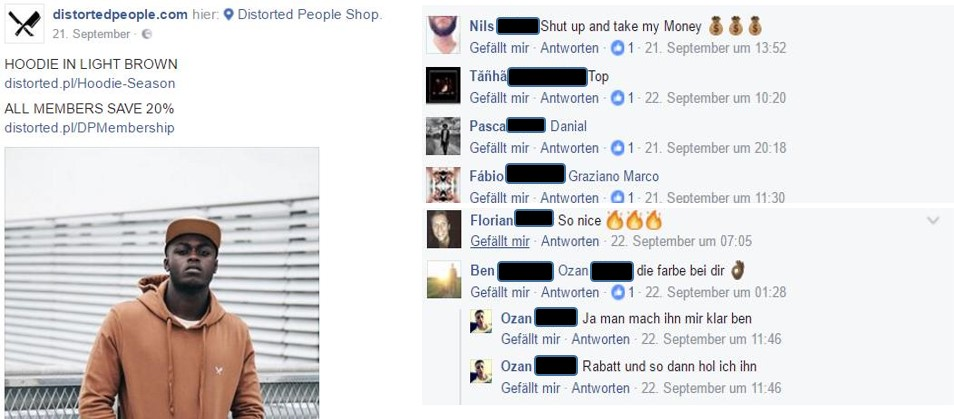 Figure      SEQ Figure \* ARABIC     1      : The interaction between the community members on a brand's Facebook post source: Distorted People Facebook page (2016a)