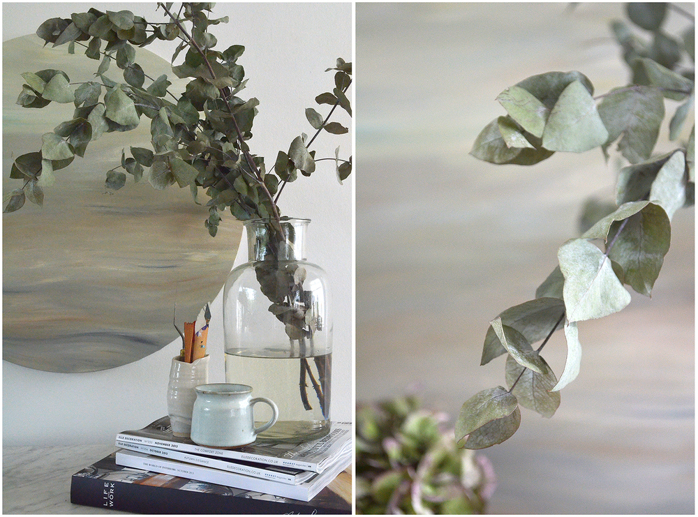 Styling with Eucalyptus and green Hydrangea