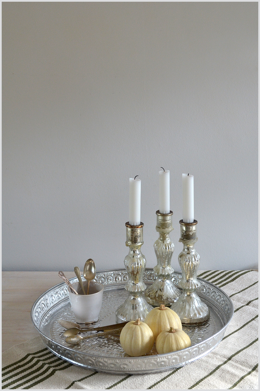 Silver tray and candleholders