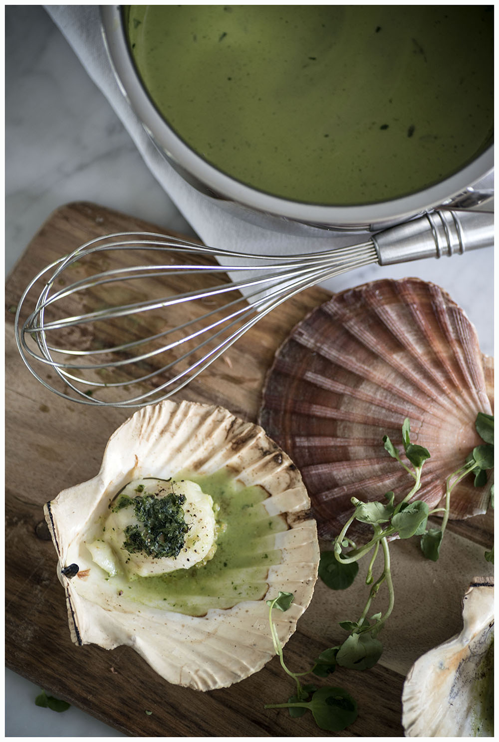 Scallops and Watercress Sauce