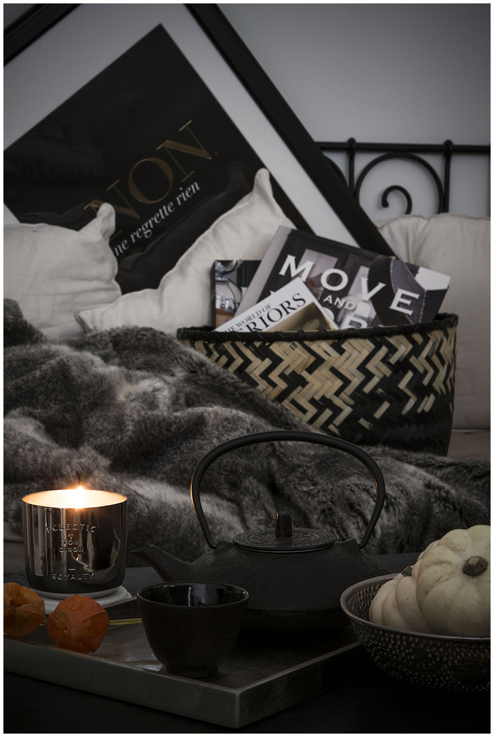 Winter Luxe with black, white and greys