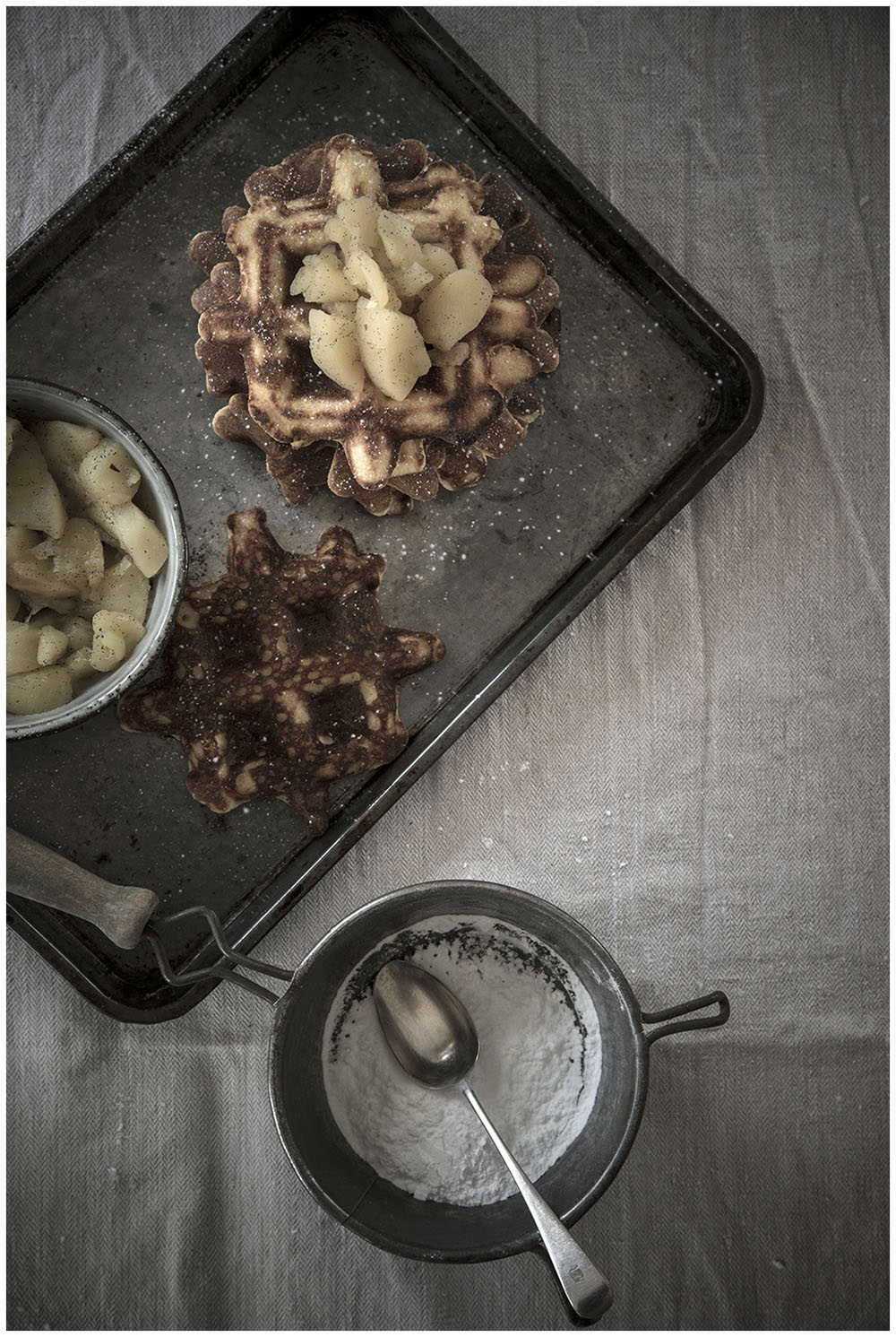 Almond & saffron waffles with stewed apples