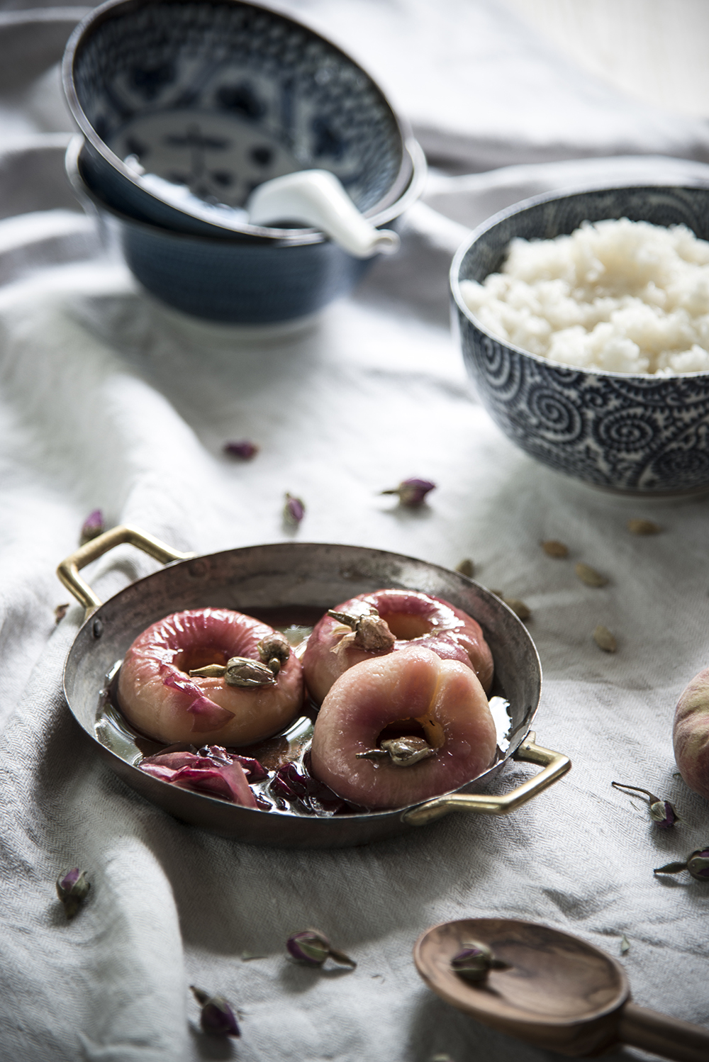 Rose poached peaches and cardamom sticky rice
