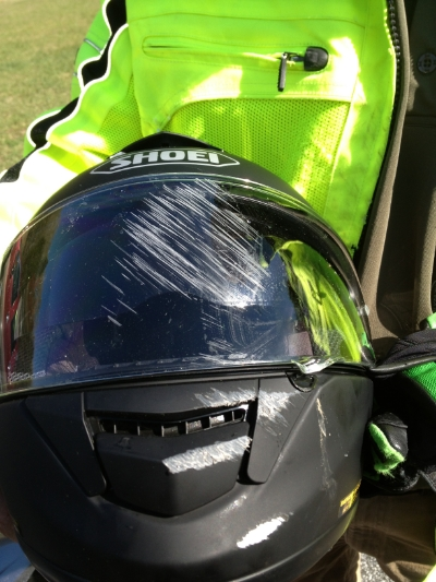 After my friend's lowside. This is why I wear full face helmets.