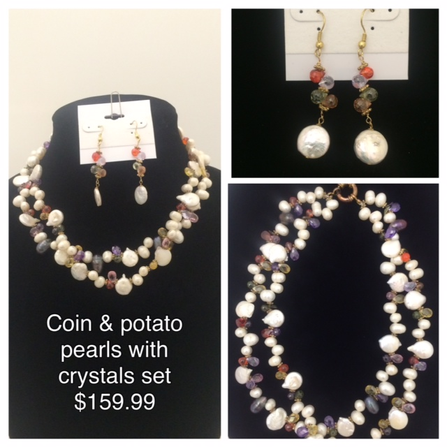 Gorgeous coin & potato pearls with multicolored crystals sprinkled between them. Priced at $159.99, this stunning necklace/earring set is now available for purchase or you can choose our layaway program :)