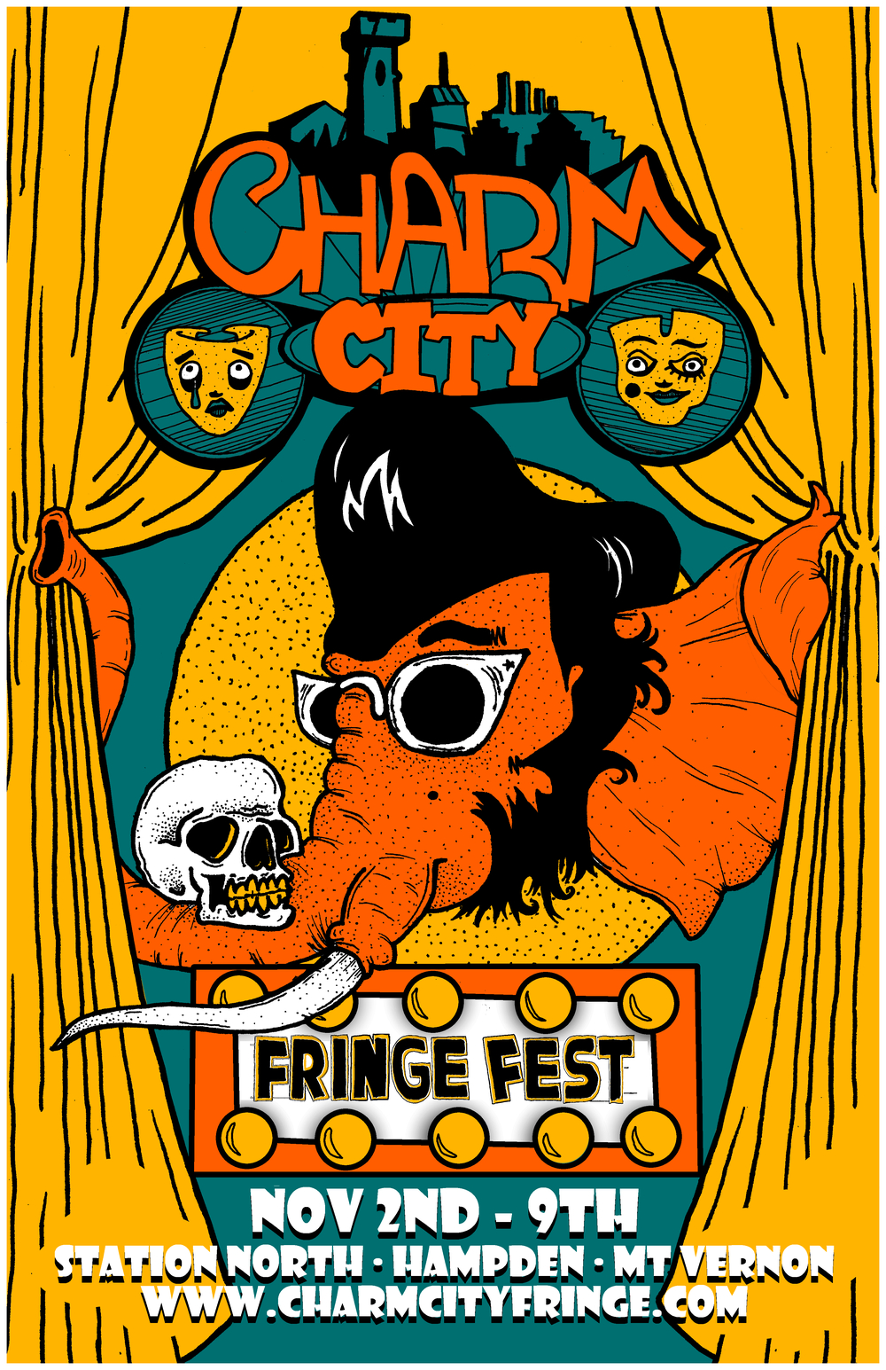Here it is, the brand-spanking-new 2014 Charm City Fringe Festival poster. This gem was created by artist Navid Azeez.