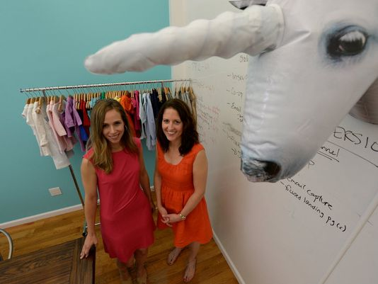 Christina Carbonell, left, and Galyn Bernard are the founders of Primary, an e-commerce site that believes parents want a simple and low-cost solution to basic children's clothing.  (Photo: Robert Deutsch, USA TODAY)