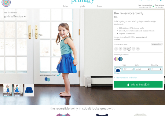 Primary's website focuses less on fashion and more on practicality, as consumers are encouraged to stock their My Closet page with staple items they plan to re-order as their children grow.     (Photo: Primary)