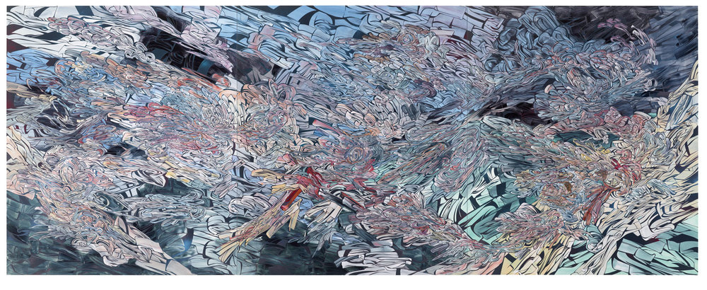 All I Can Say, 2011    Acrylic and latex on 3 wood panels  84 x 216 inches (213.4 x 548.6 cm)