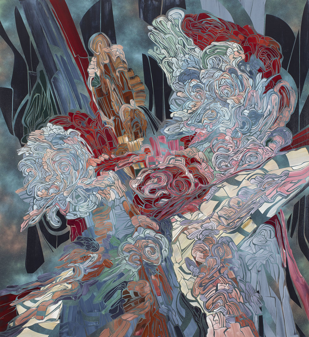 Return of the Guards, 2013   Acrylic and latex on wood panel  72 x 66 inches (182.9 x 167.6 cm)