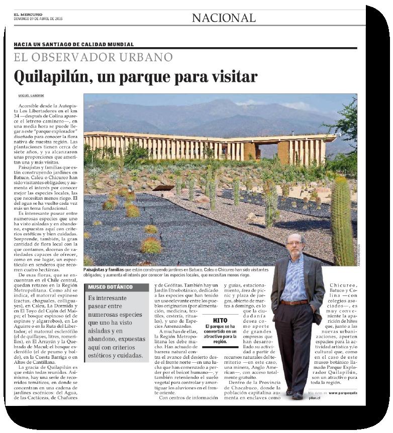 Quilapilún, un parque para visitar    Proyecto publicado:    El Mercurio, 2015