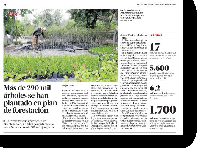 Más de 290 mil árboles se han plantado en plan de forestación    Proyecto publicado:    La Tercera, 2010