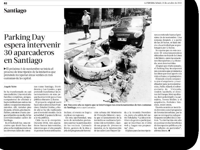 Parking Day espera intervenir 30 aparcaderos en Santiago    Proyecto publicado:    La Tercera, 2010