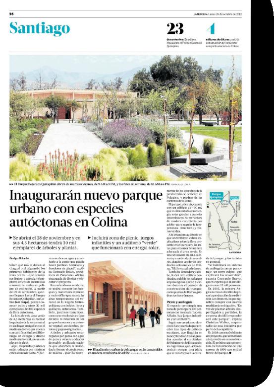 Inaugurarán nuevo parque urbano con especies autóctonas en Colina    Proyecto publicado:    La Tercera, 2012