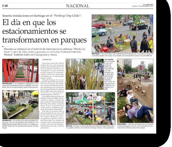 El día en que los estacionamientos se transformaron en parques    Proyecto publicado:    El Mercurio, 2012