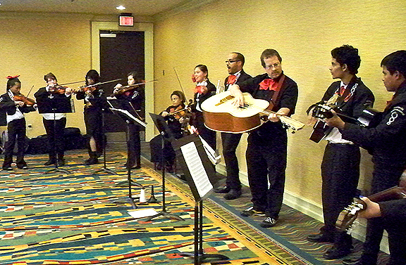 A student mariachi band entertained during a reception for participants on the first evening.