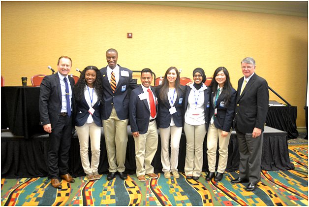 "A highlight of the event was a panel of Nashville high school students. All addressed the topic of how to incorporate ""student voice."" Shown here proudly flanking the students are MNPS Chief Academic Officer Jay Steele (l.) and Director of Schools Jesse Register (r.)."