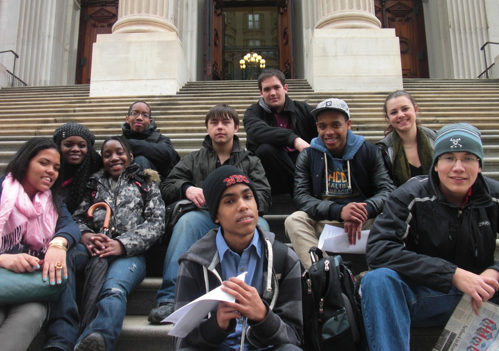 Members of New York City's Student Voice Collaborative after a recent visit to the city's Department of Education.