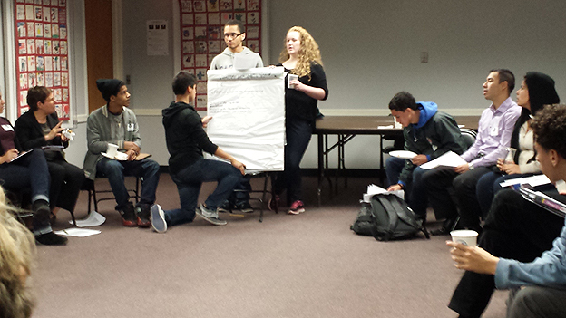 Student leaders in the Student Voice Collaborative participate in an organizational meeting.