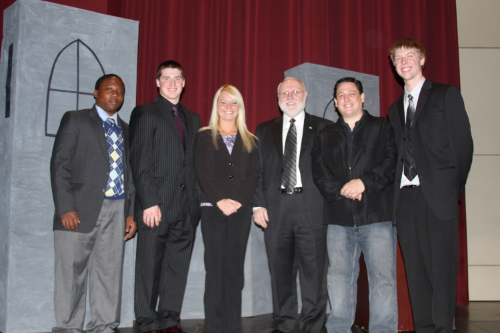 student and adult leaders at the first 7 mindsets event in fargo in april 2011. from left to right: serge uwayo, eric christianson, stephanie johnston, dr. tim peterson (North Dakota State University), scott schickler (7 mindsets founder), dylan kraimer.