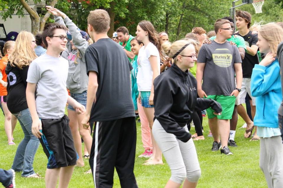TEENAGERS PARTICIPATE IN A GET-ACQUAINTED ACTIVITY, PART OF THE 7 MINDSETS PROGRAM IN FARGO, NORTH DAKOTA.