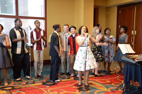 """Before dinner on the first day cmsd students wowed the audience with songs from a recent production of """"memphis."""""""