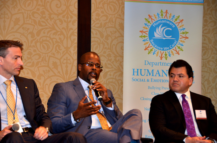 at the superintendents' roundtable: l. to r., ed graff (anchorage), antwan wilson (oakland), and paul cruz (austin).