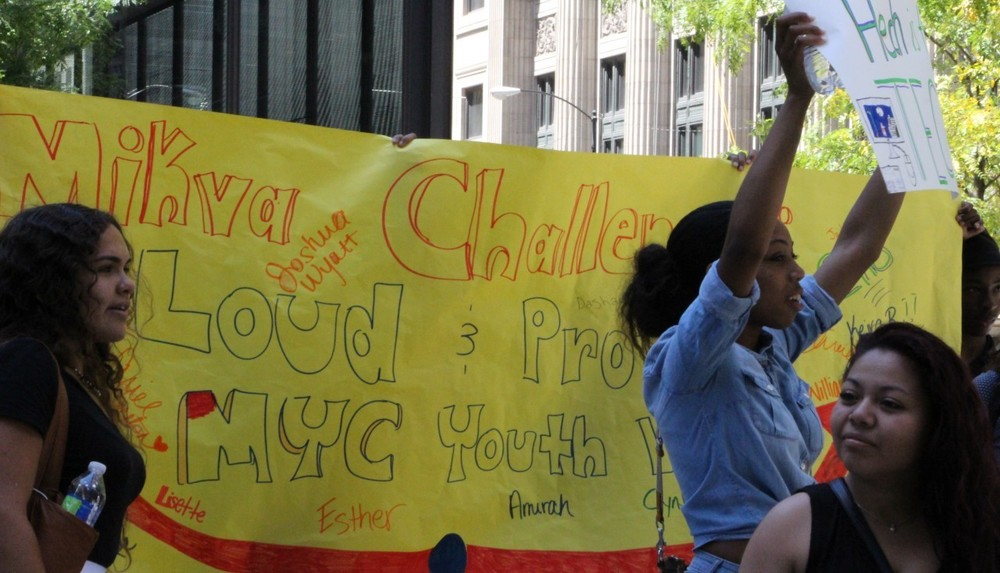 Youth participating in a mikva challenge organizing effort.