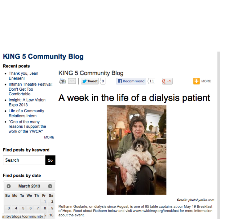 A week in the life of a dialysis patient - King5 Blog