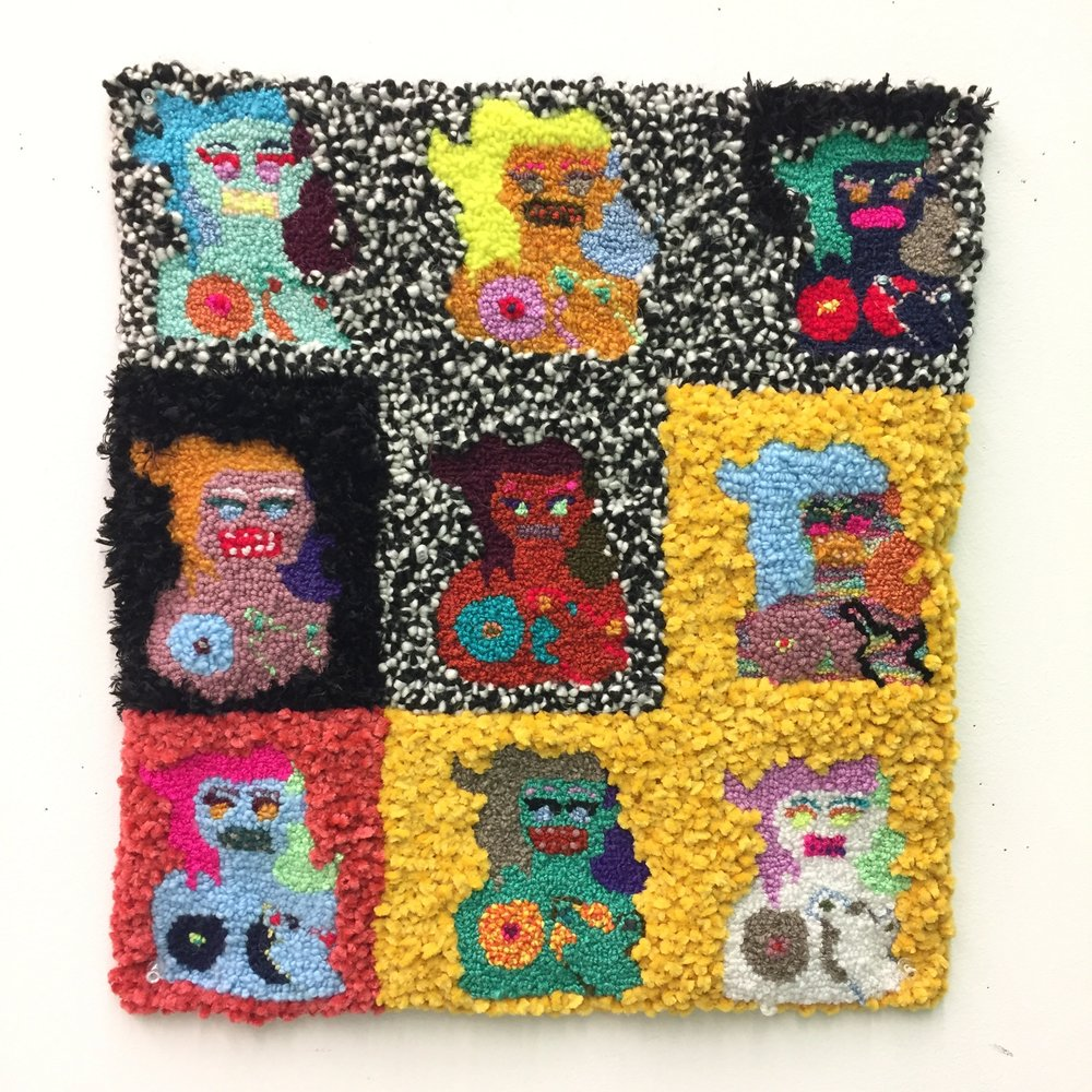 "9 FU Babes, assorted fibers, 18"" X 18"", 2017"