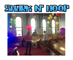 Shark N Hoop, 2015 Fly helium filled, remote controlled sharks through floating hoops. (IRL)