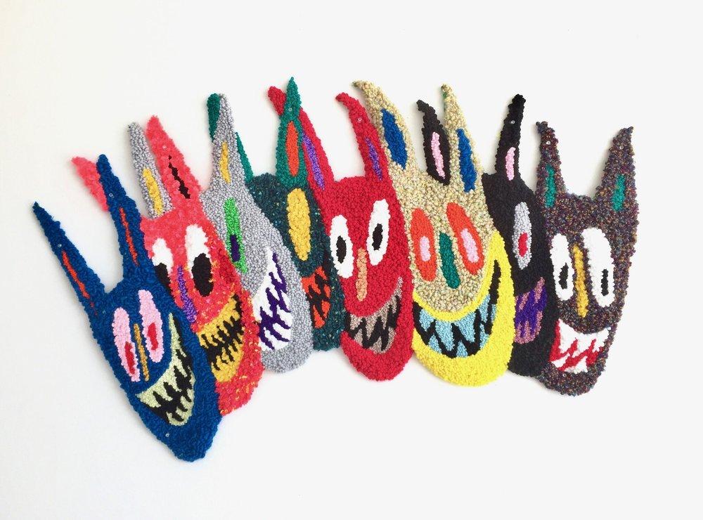 "Mischief Crew   Wool, Acrylic, Polyester, Burlap  32"" X 49""  2017"