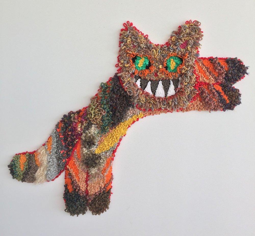 "Norbert   Wool, Acrylic, Polyester, Burlap  43"" X 52""  2017"