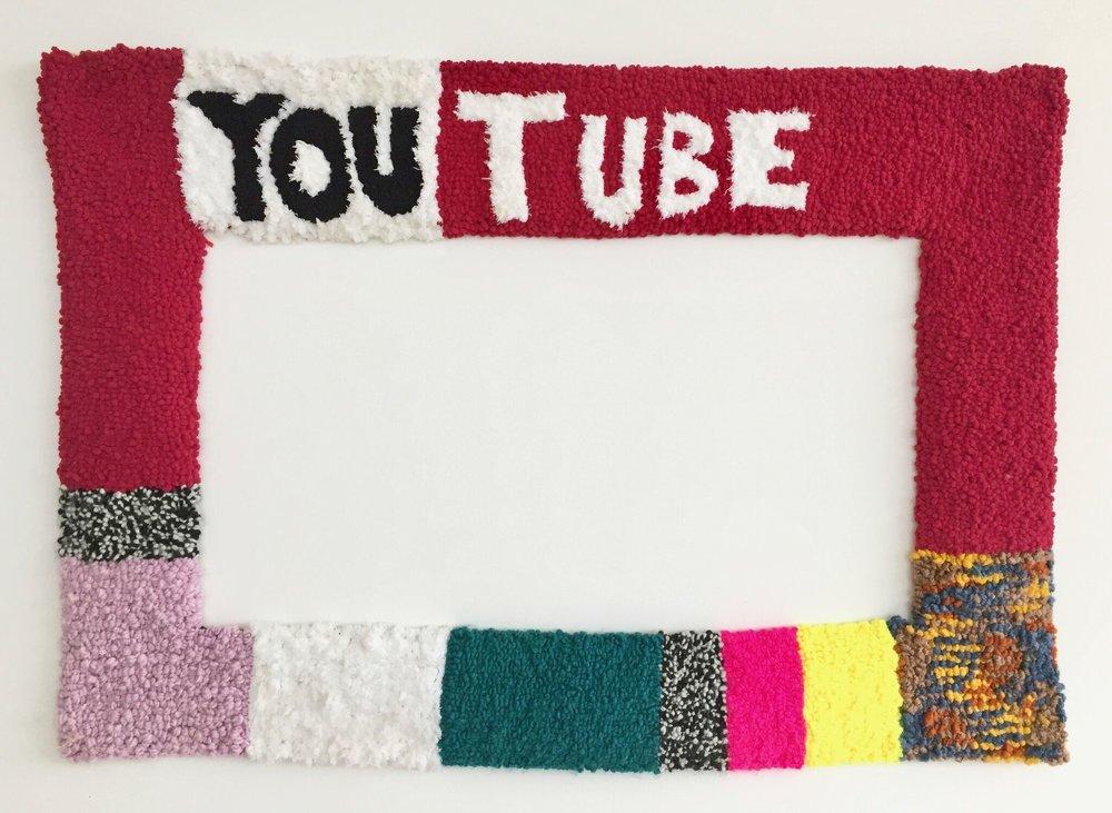 """YouTube II   Wool, Acrylic, Polyester, Burlap  29"""" X 42""""  2017"""