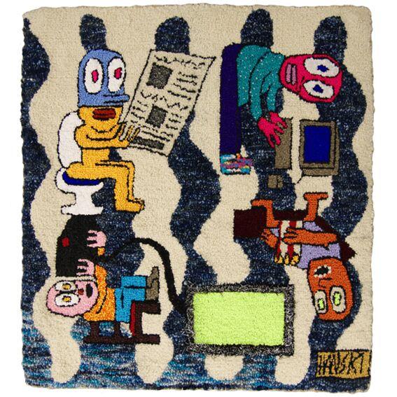 "On Loop   Wool, Acrylic, Polyester, Burlap  28.5"" X 26""  2015"